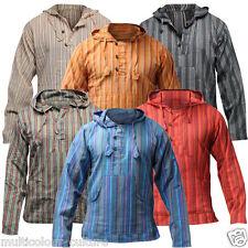 Men's Cotton Grandad Shirt Full Sleeved Hippie Top Festival Stripe Hippy Hoodie