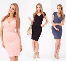 Kleid V-Ausschnitt Sommerkleid Mini Kleid in 10 Farben Gr. 36 38 40 42 44 46, 89