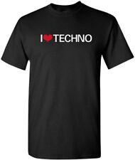 I LOVE TECHNO T-shirt FUNKY 80s DANCE HOUSE MUSIC TEE
