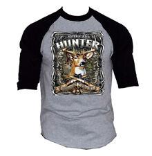 Men's American Hunter Gray Baseball Raglan T Shirt Mossy Deer Hunting Wildlife