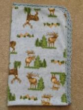 Crib/Nap/Toddler Blanket/ Fleece/ Handmade -Mountain Forest Scences And Elk