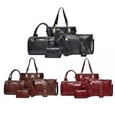 H3E# 6pcs/set Alligator Pattern Shoulder Handbags Clutch Leather Women Card Bags