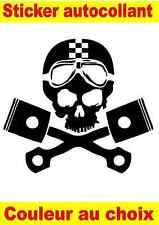 sticker autocollant tête de mort skull piston motard