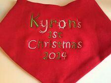 PERSONALISED CHRISTMAS XMAS BABY BANDANA DRIBBLE BIB/KEEPSAKE/GIFT/GIRL OR BOY