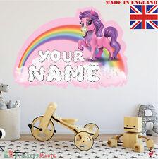 Unicorn 02 Nome Personalizzata Adesivo Parete Stanza Bambini Decalcomania Vinile in tessuto UK