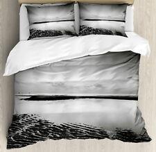 Black and White Duvet Cover Set with Pillow Shams Idyllic Sunrise Print