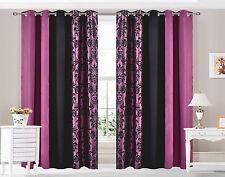 anneau oeillet Haut rideaux Damas 3 tons entièrement doublé violet
