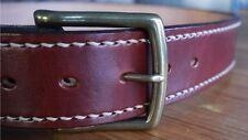 "Men's Wide Leather Belt, Hand-stitch 15oz 1.75"" wide Jeans Belt, Australian Made"