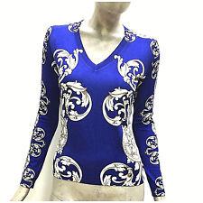 Versace Collection Maglione Donna Maglia Blu Fantasia in Seta Pullover G32845