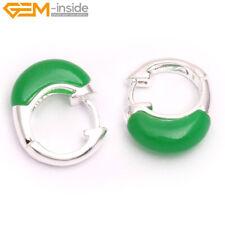 30mm Ring Stone Bead Hooks Stud Earrings Silver-plated 1 Pair Earrings Gift Box