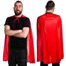 "RED SUPERHERO CAPE 40"" HALLOWEEN FANCY DRESS COSTUME COMIC BOOK HERO VILLAIN"