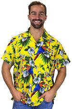 Funky Camisa Hawaiana Cherry Parrot Amarillo Diferentes Tamaños