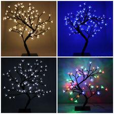 Navidad árbol bonsai LED Blanco Cálido Azul Rojo Cherry Blossom Navidad Luces probadas
