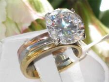 TK963PB  SET 3 WEDDING BANDS RING  RUSSIAN SIMULATED DIAMOND RING NO TARNISH