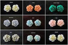 Ruffled Rose Stud Earrings 14mm *OPTION* Post Hypoallergenic Rose Earrings