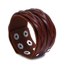 Men Punk Braided Leather Cool Bangle Bracelet Cuff Snap Fastener Adjustable