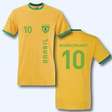 T-Shirt Trikot Retro-Shirt, WM Brasilien Brasil, Wunschname + Ziffer, Ringer T