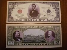 Biglietto SEGNALIBRO banconota DOLLARO Guerra Civile Americana decorazione festa