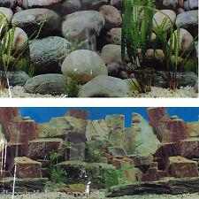 """19""""/49cm Aquarium Background Planted Rock & Pebble Scene Fish Tank #I"""