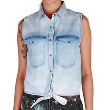 Volcom Gilet Donna Sick Muse Effetto Jeans Blu - Nuovo - Corti Gilet