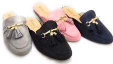 Women Fashion Mock Suede Slip-On Mules Loafer Slipper w/ Tassels