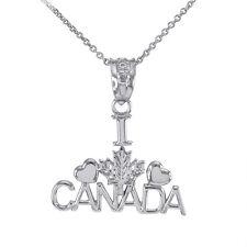 Polished White Gold I Love CANADA Pendant Necklace