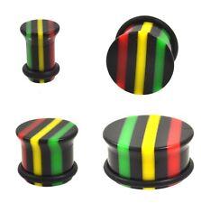 PAIR - SINGLE FLARED RASTA STRIPE EAR PLUGS BLACK/GRN/YELLOW/RED GAUGES 3mm-22mm