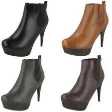COCO da donna casual PUNTA TONDA SLIP ON tacco alto con plateau stivali caviglia