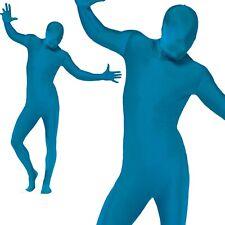 Mens Second Skin Blue Bodysuit Full Body Lycra Fancy Dress Party Costume M-XL