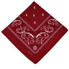 "100% Cotton Paisley Bandanas Double Sided ""Burgundy"" Handkerchief Headscarf"