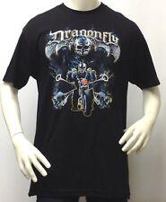 Men's T-Shirt-Dragonfly 3D Ghost Rider Skeleton Skull-Motorcycle-100% Cotton-