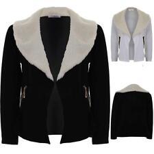Ladies Faux Wool Fur Collar Textured Open Front Women's High Low Blazer Jacket