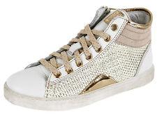 Momino 2880N Kinder hohe Sneakers Weiß Gold Leder Reißverschluss 32-39 Neu