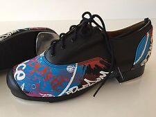 Oxford Tap Shoes - Black Graffiti Lace Up Tap Shoes - Unisex Dance Shoe