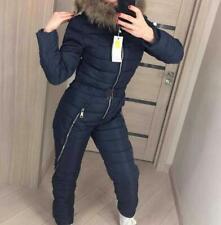 Women Cotton Down Winter Jumpsuit Fur Collar Hood Ski Suit Jacket Thicken Romper