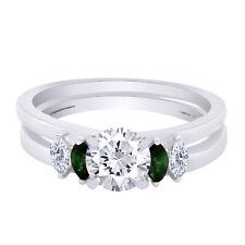 IGI Certified 1/5 Ctw Real Diamond & Emerald Enhancer Guard Wrap Ring 10k Gold