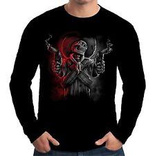 Velocitee Homme T shirt à manches longues Cowboy Bandit squelette WILD WEST biker a20290