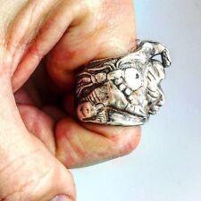 Mens Mexican Mayan Ring. Men's Large Statement Biker Ring   LUGDUN ARTISANS