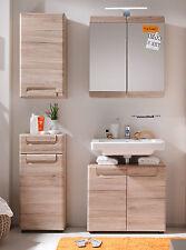 Badmöbel Badezimmer Set 4-tlg Eiche Badezimmer komplett mit Spiegelschrank Malea