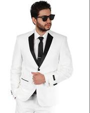 Slim Fit 2 Button White With Black Notch Lapel Collar Tuxedo Dinner Jacket AZAR