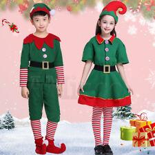 Adults Kids Christmas Elf Dress Santa's Helper Cute Elf Cosplay Party Costumes