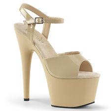"Pleaser 7"" cream exotic dancer platform shoes"