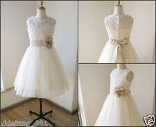 Ivory lace sweetheart tulle vintage flower girl dress tutu kids children dress