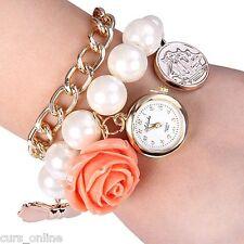 CursOnline® Orologio Vintage Bracciale Perle Pendente Fiore Donna Ragazza Retro'