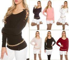 Sexy KouCla Pullover Pulli Strickpullover Sweater mit Schnürung