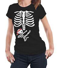 Pregnant Woman Skeleton Karate Kid Maternity Ladies T shirt Tshirt Tee Gift