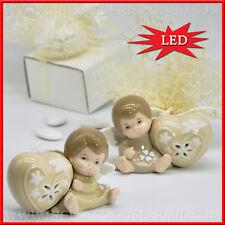 Bomboniera bimba/o angelo ceramica luce led per nascita battesimo,1°compleanno