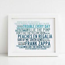 Frank Zappa Poster, Greatest Hits, Framed Original Art, Album Print Lyrics Gift