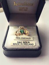 Irish 14K Gold Claddagh Ring. 0.46 carat Emerald & 2 Diamonds. Made In Ireland