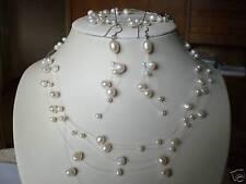 AOK1 Süßwasser Perle Schmuck Set Ohrringe Halskette Brautschmuck Collier Armband